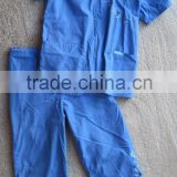 cotton blend blue embroidery Mock Wrap nusing uniform set hospital women top & pant scrubs set uniform set