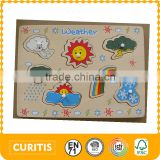 Screen Printing Educational Baby Toys 7 Different Weather Learning Plastic Knob Wooden Puzzle Manufacturers Plain Jigsaw Puzzle