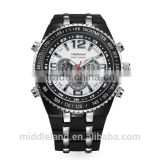 Own Branding Watches Man 2015 Fashion Black White Japanese Movt Imitation Diamond Wrist Watch Man