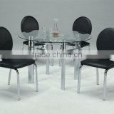 Modern Dining Set/ Black Dining Round Glass Table and Black Chair