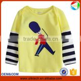 New patterns! Children cartoon long sleeve t shirt for kids wear 100% cotton casual and plain t shirt wholesale China (Ulik-T04)