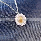 Sterling silver gold tiny daisy pendant fashion drop necklace jewlry for girls gift