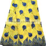 Top quality wholesale korean lace fabric / yellow blue african french lace / swiss cotton voile lace
