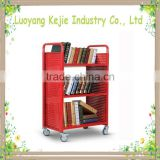 Factory direct supply steel library book trolley school library book cart cart with wheels handle