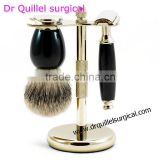 Men Shaving Brush Stands Set, Gold Color Set For Shaving Stand With Safety Razor & Badger Shaving Brush Free Shipping For 50 Set