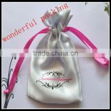 2014 satin floral cosmetic bag/satin drawstring bags with logo/satin hand bags making sample for free