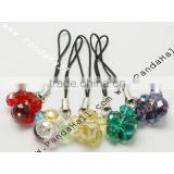 Glass Beads Mobile Straps, Multicolor, Mobile Accessories: about 73mm long; Glass Beads: about 8-10mm (J-JM00005)