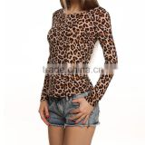 Guangzhou Garment Fatory Supply Cheap Price Fashion Women Tops Backless Lace Leopard Ladies Casual Blouse