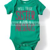 2016 Hot Sale Button Cotton Infant Bodysuit Letter Printed Baby Girl Jumpsuit Green Summer Kids Clothing G-NPRR90628-26