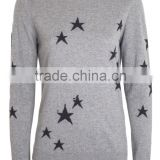 Women O Neck Star intersia knit jumper in high quality from Turkish supplier Tukish knitwear producer in Turkey made in Turkey