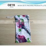 customized photo printing Microfiber Pouch with single drawstring for eyeglass/phone/camera/jewelry