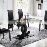 Home Furniture Wholesale Classic Stainless Steel Glass Top Dining Table Chairs