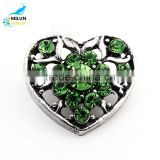 2016 Snaps Rhinestone Heart Antique Ginger Snap Jewelry 18mm Snap Button Fit Charm Bracelet