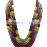 Natural multi sapphire faceted beads necklace, ruby, emerald