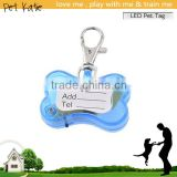 Mini Bone Shape LED Flashing Dog Toys Name Card Pendant Tags