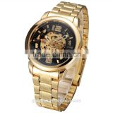 luxury sewor gold full satinless steel mens automatic watch man skeleton mechanical watch