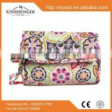 Classic style bright small organic textile printing womens 100% quilted cotton cosmetic bag