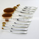 10pcs silver white private label cosmetics oval makeup brush maquiagem