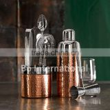 copper plated hammered premium bar tool set with cocktail shaker