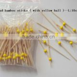 Bamboo bbq fruit skewer with color bead