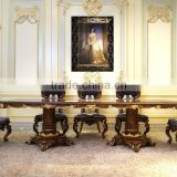 Fabulous Italy Baroque Design Marquetry Dining Room Furniture Royal Wooden Carving Dining Table Set For 8 People
