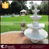 2015 garden hot sale small 3 tier white stone marble water fountain