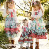 2016 New Arrive Sister Dress Floewer Girls Vintage Dress Baby Kids Back To School Clothes