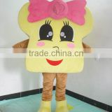 EVA plush material bread mascot costume head with cooling fan adult bread costume