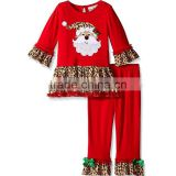 Wholesale children clothing usa ruffle top with lace ruffle pants christmas clothes outfits