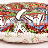 "Indian Round Pillow Case Cushion Cover Elephant Face Meditation Ottoman Pouf 32"" Cushion Cover"