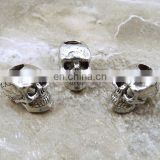New arrive alloy 10 mm antique silver sugar skull beads wholesale 4mm vertical hole metal skull beads