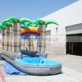 Hot sale plam tree inflatable slide with pool for game,use inflatable water slide for sale