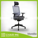 White Backrest, Gray Mesh, Black Seat Office Mesh Chair with Adjustable Armrest and 3D Headrest and Nylon Base