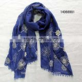 fashion navy blue spring embroidery inwrought embroidered flower scarf