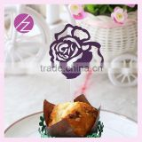 Laser cut pearl paper flower shape decoration cupcake topper CT-4