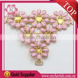 Guangzhou fancy design rhinestones handmade sandal water drop flower and acrylic shoe ornament