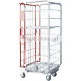 Hot sale Foldable metal mesh Storage Roll Container carts