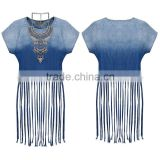 2016 High Fashion Latest Casual Short Sleeveless Sexy Tassel denim ladies jeans top design