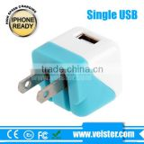 High quality! 5v 1a multiple US Plug Folding USB AC 240V wall mount usb charger for Samsung