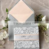 High-end Great Designer handmade silk wedding invitation folio with Lace