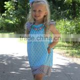 cute sleeveless light blue floral boutique girl summer dress with polka dots flutter dress