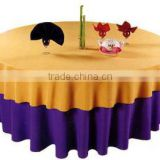 63 inch Polyester Beautiful waterproof round table cloth with embroidery for hotel wedding,party and banquet table covers