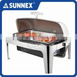 SUNNEX Highly Polished Stainless Steel Roll Top Cover 220V AC, 760W 8.5LTR/9U.S.Qt Electric Chafing Dish