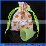 GuangDong manufacture wholesale with colorful cotton bags best selling medical menstrual cup