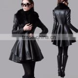 Black Women's Long Slim leather jacket trench coat windbreaker with fur