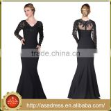 ABI-07 Sexy Long Sleeves Sequins Beaded Sheer Zipper Back V-neck Long Mother of the Bride Dress Custom made