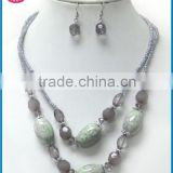 print stone double layer necklace imitation jewelry sets