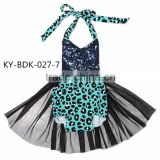 Kaiya latest navy sequin and leopard print clothing with black tulle ruffle baby romper
