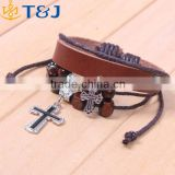 Latest Arrival New Design Jewelry Beads Bracelet Nnisex Multilayer Cross Cheap Leather Bracelet/