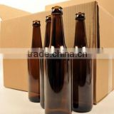 16oz /500ML amber glass beer bottles with crown cap amber glass packaging for beer glass bottle china manufacturer